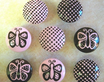 Set of 8 - Pink and Brown - DOTS and BUTTERFLIES - Hand Painted Dresser Drawer Knobs