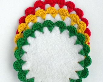 Doily coaster set, reggae home decor, crochet coaster,  table placemat, rasta party decoration