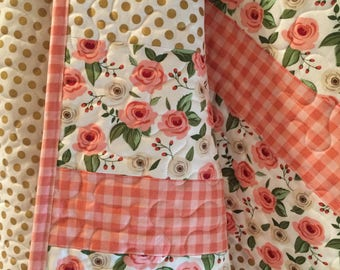 Baby Girl Quilt, Peach Floral Roses, Stripes, Metallic Gold Dots, Gingham, Checks, Nursery Crib Bedding, Blanket, Handmade, Little Me Unique