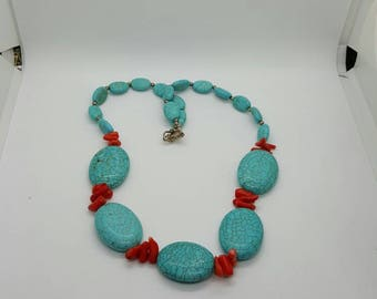 Turquoise and coral necklace (NK024)