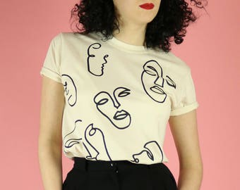 Faces Print T-shirt - Black on Natural