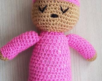 Sleepy doll, crochet doll, soft toy, soft sleepg doll