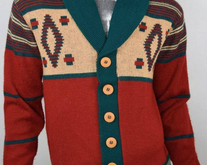 Vintage 1970's Men's CAMPUS Aztec Native Ethnic HiPPiE HiPsTeR Knit Cardigan Sweater M L