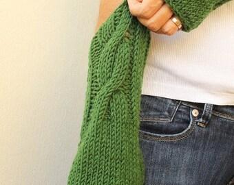 Fingerless Gloves - Valentine Gift - Emerald Green Gloves - Wool Mittens - Hand Knit Gloves - Wrist Warmers - Winter Mittens