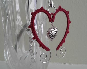 Red tatted wire heart pendant with silver heart bead