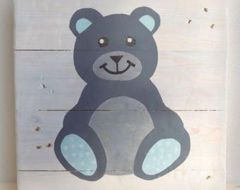 Blue Boy Teddy bear painting - Child - pallet, acrylic painting - 30x30cm room Decoration