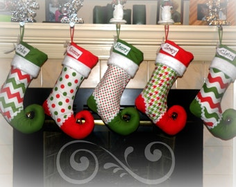 Christmas Stocking personalized - elf stocking - choice of FOUR