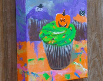Halloween Cupcakes -Original small acrylic Painting - on canvas