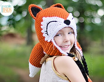 Fox Hat with Detachable Tail - READY to SHIP for Child Size