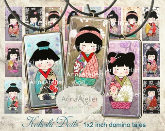 KOKESHI DOLLS - 1x2 inch - Digital Collage Sheet - Printable Download - Domino tales for pendants, bezel trays, magnets, scrapbooking