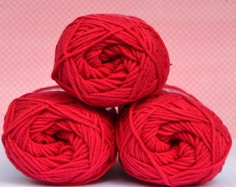 Kacenka - soft cotton/acrylic yarn for crochet and knitting, Raspberry red color, No. 3374, 1 ball/50 g, Producer NCT