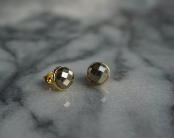 Pyrite earrings, 18kt Gold plating over Sterling Silver