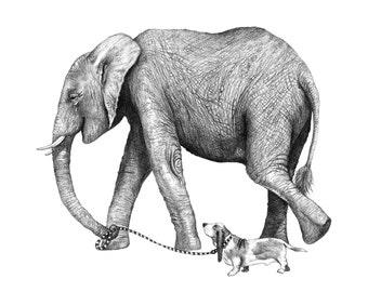 8x10 Giclee Print Elephant and Dog Pencil Illustration