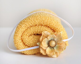 Knit Baby Wrap, Yellow Knit Wrap Set, Baby Knit Wrap, Newborn Prop, Newborn Knit Wrap, Newborn Wrap Set, Photography Prop