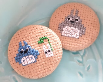 Totoro Cross Stitch Pin-Pin Back Badge-Handmade Pin-Fiber Arts-Gift for Anime Fan-Otaku Fashion-Forest Spirit-Japanophile-Geek Gifts-Geekery