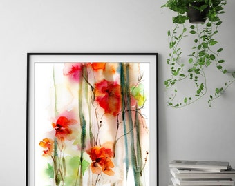 Abstract Red Flowers Fine Art Print, watercolor painting art print, floral print, abstract botanical print