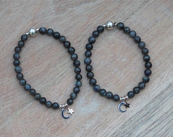 ZenHappy Moon and Star Stretch Gemstone Mala Bracelet - Labradorite Gemstone Beads with Sterling Silver Moon and Bronze Star Charms