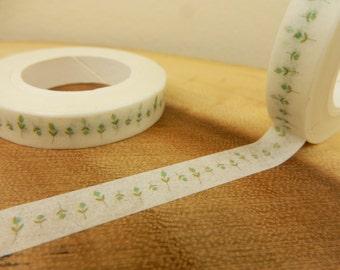 Flower Bud Washi Tape, 8mm Japanese Tape, Flower Washi, Green Buds Prints,Scrapbooking Decal, Gift for Gardener