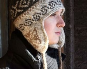 Traditional Peruvian-style Wool Blend Winter Hat