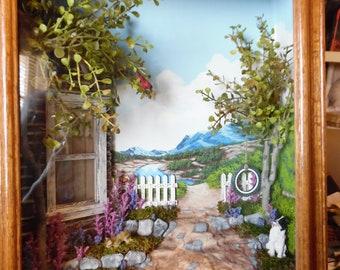 Original Dimensional Shadow Box Painting Mountain Cabin