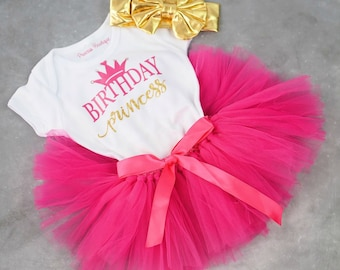 Princess Birthday Outfit - Birthday Outfit for First Birthday - Pink and Gold Tutu - Glitter Gold Birthday Outfit - Baby Clothes