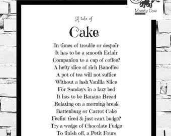 Cake Print, Cake Wall Art, Cake Lover, Poetry Print, Personalized Poem, Poem Print, Friend Gift, Mothers Day Gift, Cake Wall Art