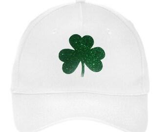 Baseball Caps, Irish Hats, St Patricks Day, Glitter Shamrock, Green Glitter, Bling, Bling Hat, 3 leaf, 3 leaves, Baseball Caps, Hats, Caps