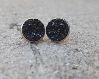 Black Chunky Large Druzy Stainless Steel Hypoallergenic Black Nighttime Druzy Studs