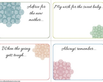 Baby Shower Advice Cards - Lace Flowers Soft - Nature Wishing Tree - digital download printable - Instant Download