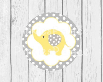 Baby Elephant Stickers Envelope Seals Yellow Baby Shower Envelope Seal