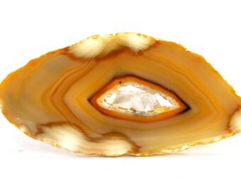 Agate Slice Geode (73mm x 34mm x 4mm) - Caramel Agate - Banded Agate - Geode Stone - Agate Gemstone