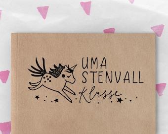 School Stamp large with unicorn 5 x 2.5 cm