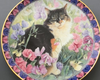 Danbury Mint Cats Among The Flowers Agneatha in Sweet Peas Collectors Plate.