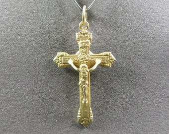 French, Antique Religious Silver Pendant, Cross, Crucifix. Jesus Christ, Sterling Medal. Gothic. Gothique