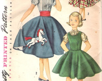"""Vintage 1956 Simplicity 1741 Girls' Jumper, Blouse & Skirt Sewing Pattern Size 7 Breast 25"""""""