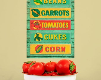Farm Stand Vegetables Rustic Wall Decal - #57886