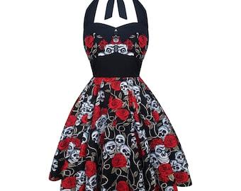Skull Dress Rose Dress Halloween Dress Rockabilly Dress Gothic Dress Pin Up Dress Psychobilly Dress Clothing Lolita Dress Steampunk Dress