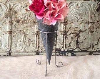Vintage Zinc Metal Flower Vase with Stand