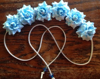 Powder Blue Flower Power Bohemian HeadBand - Flower Crown - Halo