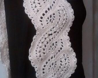 Crochet Long lace scarf , White