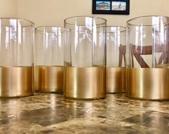 12 Wedding Centerpiece, Cylinder Vases, Baptism Centerpieces, Baby Shower Centerpieces,Gold Dipped Vases, Bridal Centerpieces.
