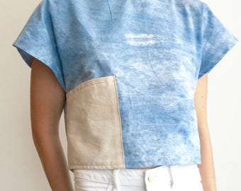 A Pocket Top- Box Top Cotton Shirt- Naturally Dyed Shirt- Simple Shirt- Shirt with Pockets- Indigo Shirt- Slow Fashion