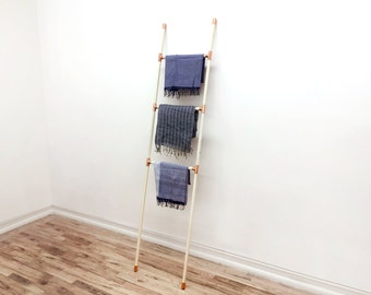 Copper and Wood Ladder Accessory Rack