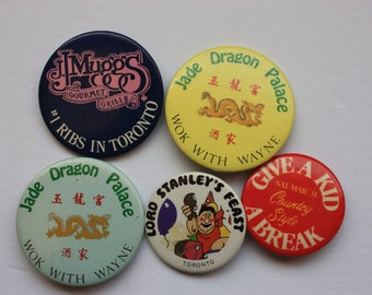 Set of 5 Restaurant Pin Backs, food related pin backs, restaurant advertising pins