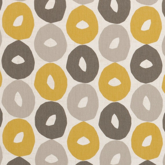 Yellow Grey Geometric Upholstery Fabric Charcoal Grey White