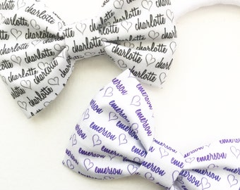 Personalized Name Bow With Hearts - Personalized Headband - Custom Name Bow - Personalized Baby Gifts - Baby Shower Personalized Gift