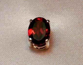 Mens Genuine Red Rhodolite Garnet Sterling Silver Gemstone Tie Tack Pin Free Shipping