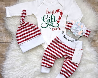 best gift ever baby girl christmas outfit newborn christmas outfit candy cane outfit christmas gift flower bow baby shower gift Red stripes