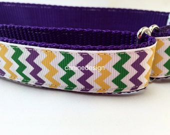 Dog Collar, Mardi Gras Chevron,1 inch wide, adjustable, quick release, metal buckle, chain, martingale, hybrid, nylon