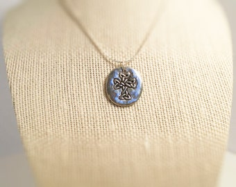 Necklace. Cross  / Life. Pendant, Charm Necklace, Hand stamped both sides.